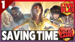 SAVING TIME (TWITCH GIVEAWAY) (Session 1, 4 Players) Live Board Game Session! I Heart Board Games!