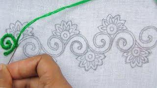 Hand Embroidery, Border Line Embroidery Tutorial, Easy Border Design