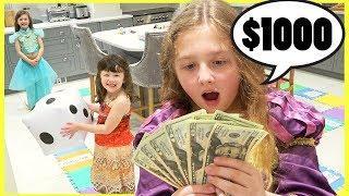 Disney Princess Giant Board Game Challenge W/ Moana Rapunzel & Jasmine Winner gets $1000!