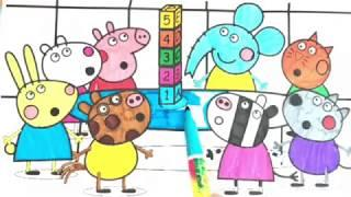 Peppa Pig Board Game Drawing And Coloring video - Peppa Pig Drawing Book For Kids - FHKZ