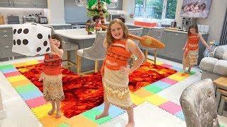 Moana Giant Board Game Challenge! Playing Floor is Lava! Ava Isla & Olivia