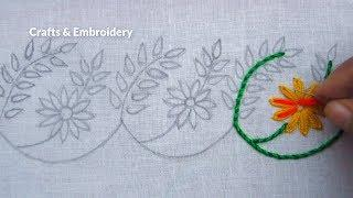 Hand Embroidery, Easy Border Line Embroidery for Dresses, New Border Design