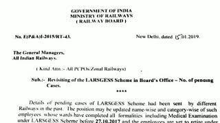 LARGESS Scheme Latest News - Railway Board Latter - 16/01/2019