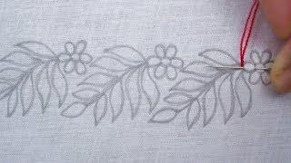 Hand Embroidery, Simple Border Line Embroidery Tutorial, New Border Design