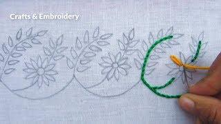 Hand Embroidery, Easy Border Line Embroidery Design, Border Embroidery Tutorial