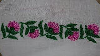 Hand Embroidery : Borderline Embroidery : Lazy Daisy & Fishbone Stitch Embroidery