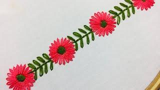 Hand Embroidery:borderline embroidery design with lazy daisy stitch.