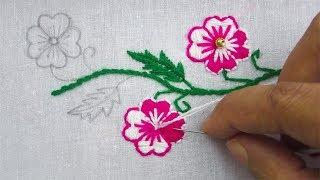 Hand Embroidery, Latest border line design,  Double color flower embroidery