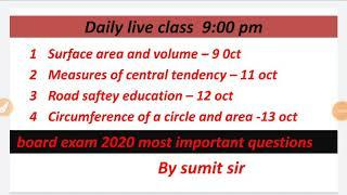 Daily live class time table for board exam 2020 most important questions